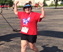 Peggy Stevens running a 5K after scoliosis surgery