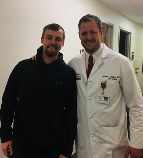 Stone and Dr. Goodwin at his follow-up visit