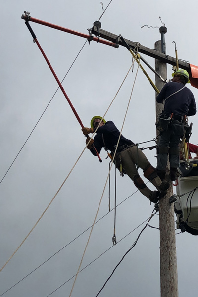 Stone working as an Ameren lineman